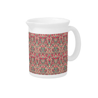 Abstract hand drawn pattern. Pink color. Pitcher