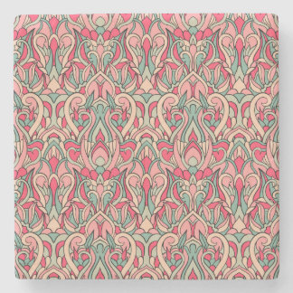 Abstract hand drawn pattern. Pink color Stone Coaster