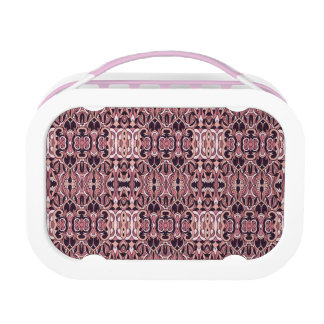 Abstract hand drawn pattern. Pink violet colors. Lunch Box