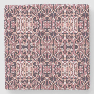Abstract hand drawn pattern. Pink violet colors. Stone Coaster