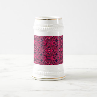 Abstract hand drawn pattern. Purple pink colors. Beer Stein