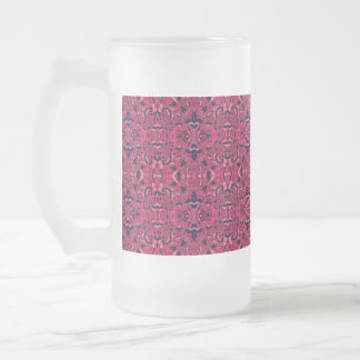 Abstract hand drawn pattern. Purple pink colors. Frosted Glass Beer Mug