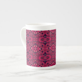 Abstract hand drawn pattern. Purple pink colors. Tea Cup