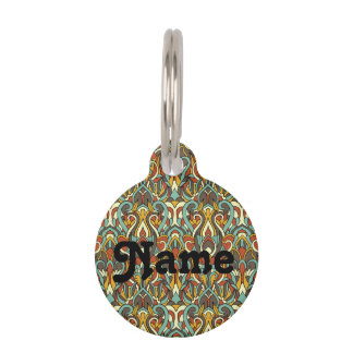 Abstract hand drawn pattern. Retro color. Pet ID Tag