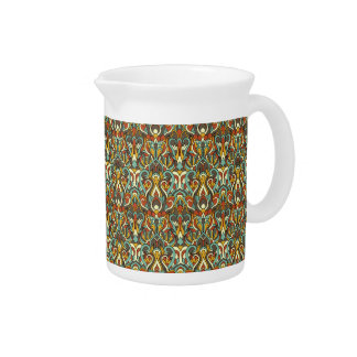 Abstract hand drawn pattern. Retro color. Pitcher