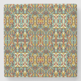 Abstract hand drawn pattern. Retro color. Stone Coaster