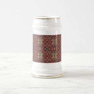 Abstract hand drawn pattern. Warm colors. Beer Stein