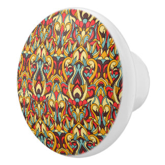Abstract hand drawn pattern. Warm colors. Ceramic Knob