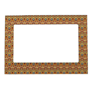Abstract hand drawn pattern. Warm colors. Magnetic Frame