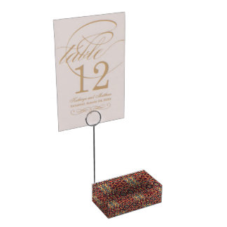 Abstract hand drawn pattern. Warm colors. Place Card Holder