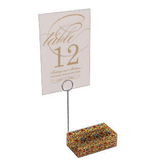 Abstract hand drawn pattern. Warm colors. Table Card Holder