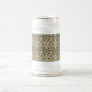 Abstract hand drawn pattern. Yellow white color. Beer Stein