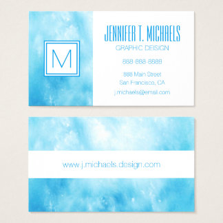 Abstract Hand Drawn Watercolor Background: Blue Business Card