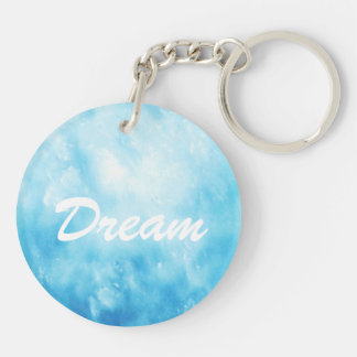 Abstract Hand Drawn Watercolor Background: Blue Double-Sided Round Acrylic Key Ring