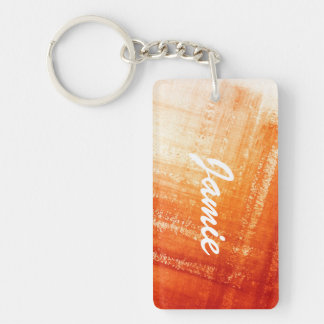 Abstract hand painted background Double-Sided rectangular acrylic key ring