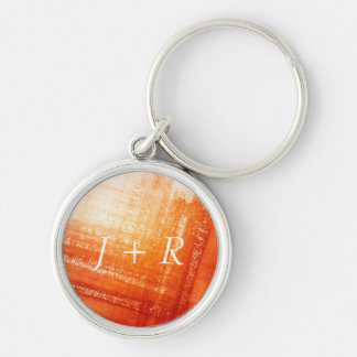 Abstract hand painted background Silver-Colored round key ring