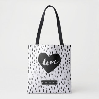 Abstract Handdrawn Love Heart Black White Dots Tote Bag