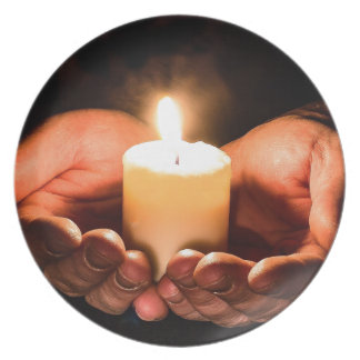 Abstract hands and candle ministry christian plate