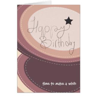 Abstract happy birthday purple greeting card
