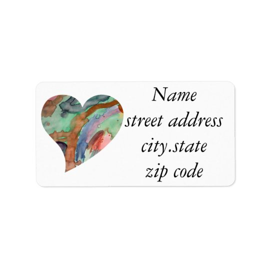 Abstract Heart Address Label