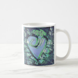 abstract heart basic white mug