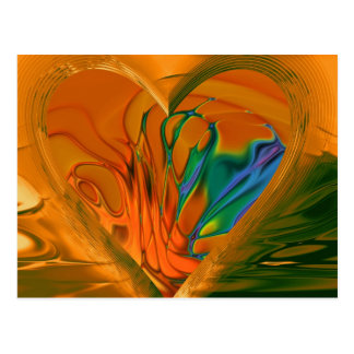 Abstract Heart on Fire Postcard