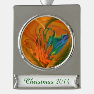 Abstract Heart on Fire Silver Plated Banner Ornament