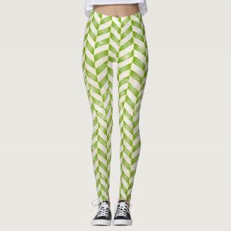Abstract herringbone in greenery leggings