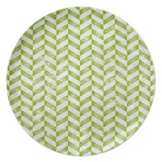 Abstract herringbone in greenery party plate