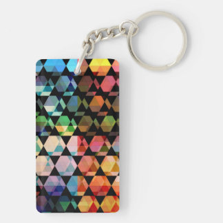 Abstract Hexagon Graphic Design Key Ring