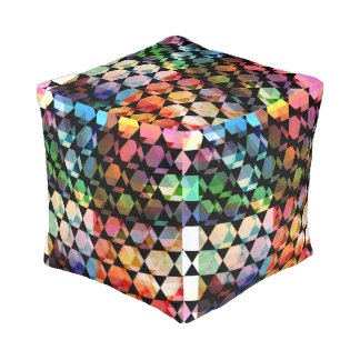 Abstract Hexagon Graphic Design Pouf