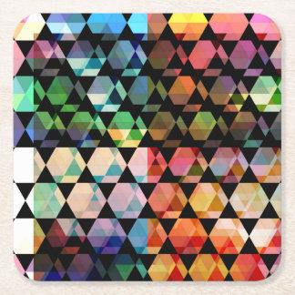 Abstract Hexagon Graphic Design Square Paper Coaster