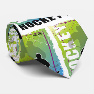 Abstract Hockey Player Blue and Green Tie
