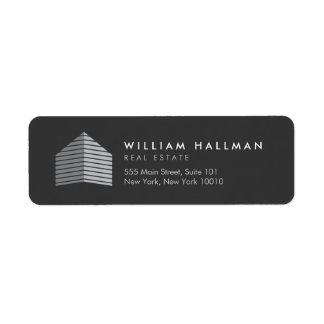 Abstract Home Logo Gray/Dark Gray Return Address Label