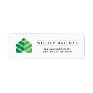 Abstract Home Logo Green/White Return Address Label