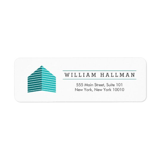 Abstract Home Logo Teal/White Return Address Label