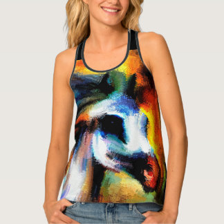Abstract Horse Art Beautiful Gray White Singlet