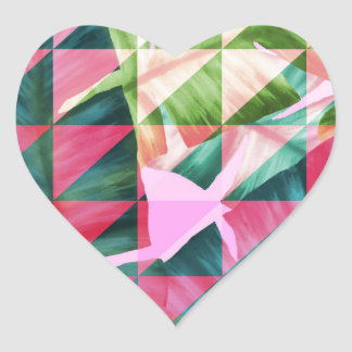 Abstract Hot Pink Banana Leaves Design Heart Sticker