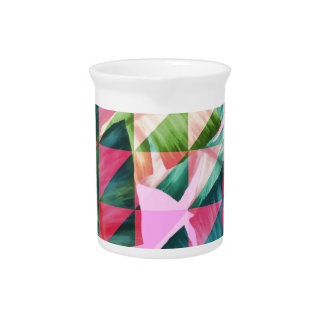 Abstract Hot Pink Banana Leaves Design Pitcher