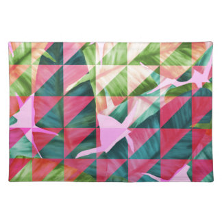 Abstract Hot Pink Banana Leaves Design Placemat