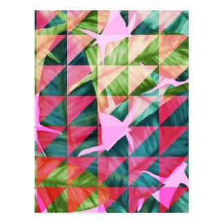 Abstract Hot Pink Banana Leaves Design Postcard