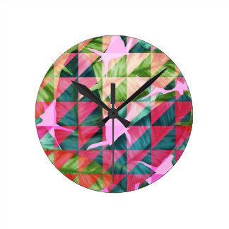 Abstract Hot Pink Banana Leaves Design Round Clock