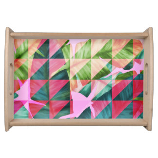 Abstract Hot Pink Banana Leaves Design Serving Tray