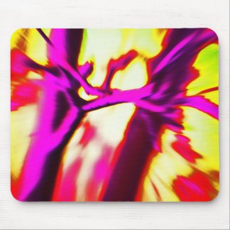 Abstract hot pink & bright yellow design mouse pad