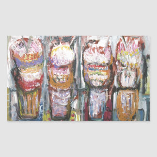 Abstract Ice Cream Sundaes (Food Expressionism) Rectangular Sticker