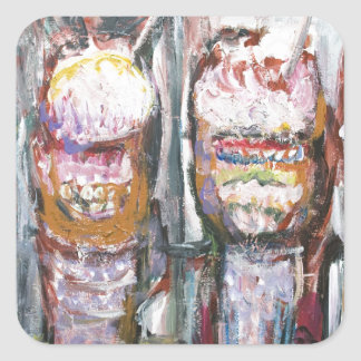 Abstract Ice Cream Sundaes (Food Expressionism) Square Sticker