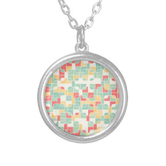 abstract image silver plated necklace
