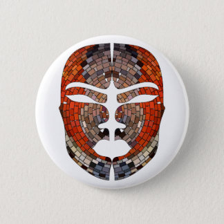 Abstract imitation of African mask 6 Cm Round Badge