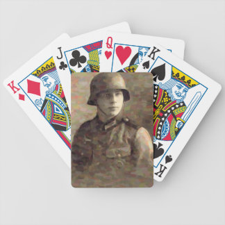 Abstract impressionist painting of A Young Soldier Bicycle Playing Cards