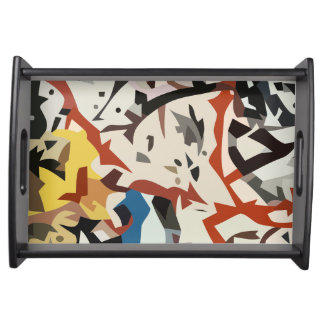 Abstract in beige tones serving tray